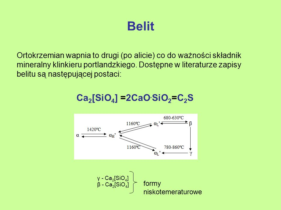 Belit Ca2[SiO4] =2CaO.SiO2=C2S
